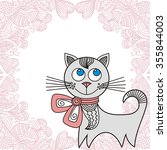 beautiful cat and romantic... | Shutterstock .eps vector #355844003