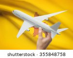 airplane in hand with local us... | Shutterstock . vector #355848758