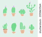 hand draw doodle. set cactuses... | Shutterstock .eps vector #355865564
