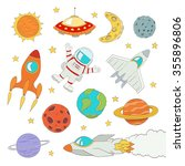 set of cute outer space... | Shutterstock .eps vector #355896806