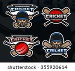 set of  cricket sports logos ... | Shutterstock .eps vector #355920614