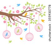 birds and tree colorful vector... | Shutterstock .eps vector #355930778