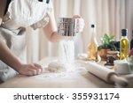 Woman Preparing Dough Basis...