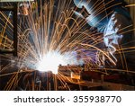 worker with protective mask... | Shutterstock . vector #355938770