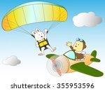 a paraglider and propeller... | Shutterstock .eps vector #355953596