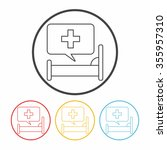 hospital beds line icon | Shutterstock .eps vector #355957310