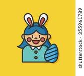 easter bunny girl vector icon | Shutterstock .eps vector #355961789