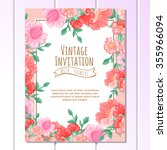 invitation with floral... | Shutterstock . vector #355966094