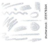 set of silver glitter brush... | Shutterstock .eps vector #355978364