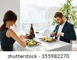 healthy food eating. closeup of ...   Shutterstock . vector #355982270