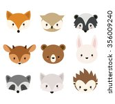 cute woodland animals collection | Shutterstock .eps vector #356009240