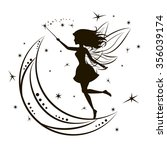silhouette of fairy with moon... | Shutterstock . vector #356039174