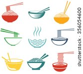 set of noodles or spaghetti in... | Shutterstock .eps vector #356054600