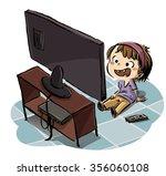 boy watching television   Shutterstock . vector #356060108