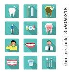 modern flat dental icons set... | Shutterstock .eps vector #356060318
