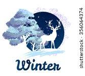 frosty winter concept deer in... | Shutterstock . vector #356064374