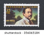 Small photo of UNITED STATES - CIRCA 1995: a postage stamp printed in USA showing an image of president Tennessee Williams, circa 1995.