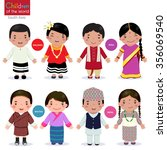 kids in traditional costume ... | Shutterstock .eps vector #356069540