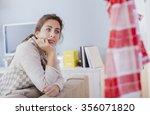 lonely sad woman deep in... | Shutterstock . vector #356071820