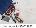 view on women bag stuff with... | Shutterstock . vector #356091890