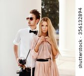 young beautiful hipster couple... | Shutterstock . vector #356132894
