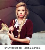 pretty young blonde fashion red ... | Shutterstock . vector #356133488