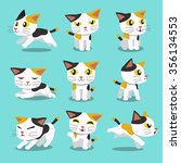 Stock vector set of cartoon character cat poses 356134553