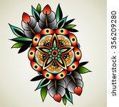old school tattoo art flowers... | Shutterstock .eps vector #356209280