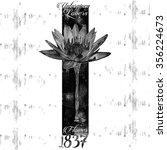 monochrome flower tee graphic | Shutterstock .eps vector #356224673