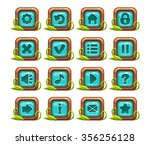 cartoon square buttons menu set ...