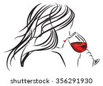 woman girl smelling a wine... | Shutterstock .eps vector #356291930