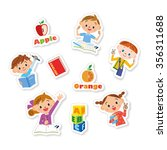 children making an english study | Shutterstock .eps vector #356311688