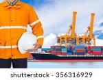 engineer dockers wearing safety ... | Shutterstock . vector #356316929