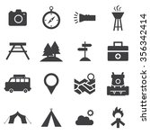 camping icons vector...   Shutterstock .eps vector #356342414