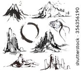 vector set of mountains  hand... | Shutterstock .eps vector #356356190