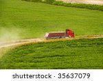 Loaded red truck - stock photo