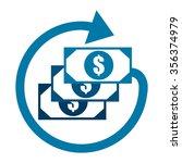 blue dollar cash with arrow ...