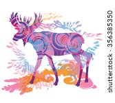 Moose In Blue And Pink Colors