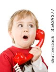 little boy holding a red...   Shutterstock . vector #35639377