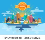 spring landscape. small town.... | Shutterstock .eps vector #356396828