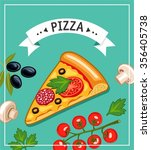 slice of pizza and ingredients... | Shutterstock .eps vector #356405738