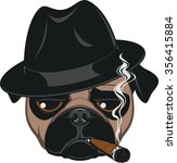 funny pug with cigar | Shutterstock .eps vector #356415884