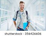 happy guy with book and... | Shutterstock . vector #356426606