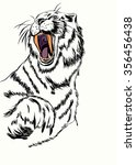 sketch of tiger head with open... | Shutterstock .eps vector #356456438
