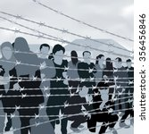 refugees people behind barbed... | Shutterstock .eps vector #356456846