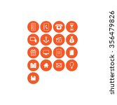 concept icon set  dark orange | Shutterstock .eps vector #356479826