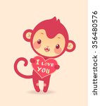 """funny monkey with heart """"i love ... 