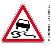 slippery road   vector sign | Shutterstock .eps vector #356485490