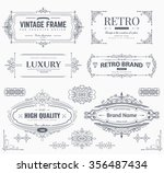 Collection of vintage patterns. Flourishes calligraphic ornaments and frames. Retro style of design elements, postcard, banners, logos. Vector template | Shutterstock vector #356487434