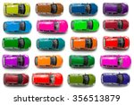 Stock photo top view on colorful car toys 356513879